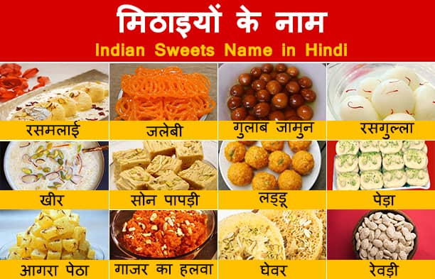 Sweets Name in Hindi